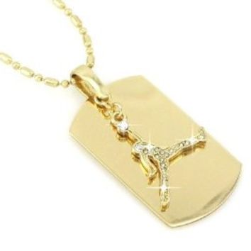 Michael Jordan Jumpman Gold Tone Dog Tag Necklace-With Free Chain