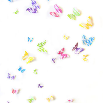 Chevron Butterflies 3D Wall Art- Set of 40 Girls Room, Nursery Decor, Teens Room, Baby Shower, Kids Room Ideas, Decal