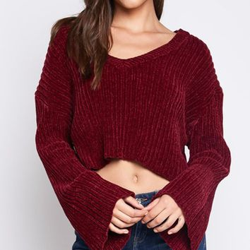 High Five Wine Red Long Bell Sleeve V Neck Crop Loose Pullover Sweater