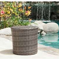Outdoor Patio Furniture Gray PE Wicker Barrel Pool Side Table Round Garden Deck