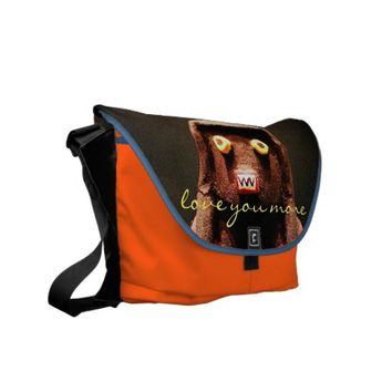 """Love you more"" cute, fun face photo messenger bag"