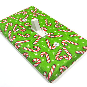 Candy Cane Light Switch Cover Christmas Decoration Seasonal Decor Winter Holiday Green Red White