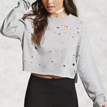 DCCK6HW Women Solid Color Personality Hollow Ripped Burning Flowers Backless Long Sleeve Sweater Tops