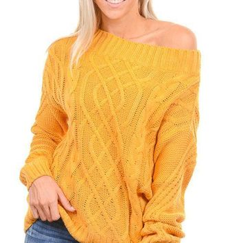 Mustard Cable Knit Off Shoulder Sweater