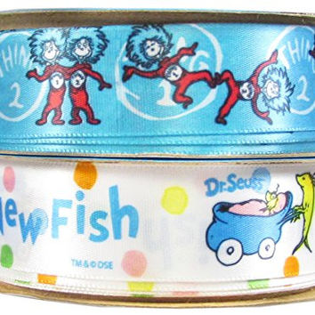 Offray Dr. Seuss Craft Ribbon Combo, 2 Rolls of 7/8-Inch x 9-Feet, Thing one, Thing two and New Fish, for Hair Bows, Sewing, Scrapbook