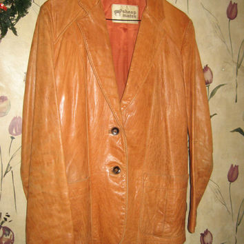 Vintage Ladies 1970s- 80's Sheepskin, Leather, Jacket, Button Up sz 15-16