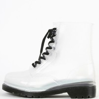 Lace Up Clear Jelly Combat Boots | MakeMeChic.com