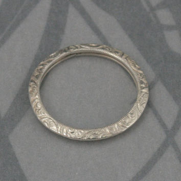 Fancy Engraved Sterling Silver Knife Edge Band--Womens Wedding Band--Sterling Silver Embossed Patterned Wedding Ring--Made to Size