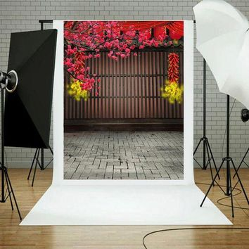 DCCKFS2 China Style Spring Festival Firecrackers Flower Background Wood Wall Stone Floor Photography Prop Backdrop 0.9x1.5M
