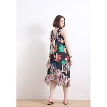 (Korean) Floral & Parrot Chiffon Dress With Frill Trim