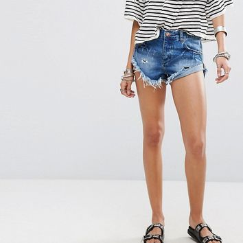 One Teaspoon Bandits Roll Hem Denim Shorts with Distressing at asos.com