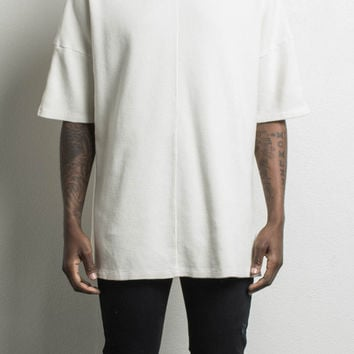 oversized heavy thermal tee / natural