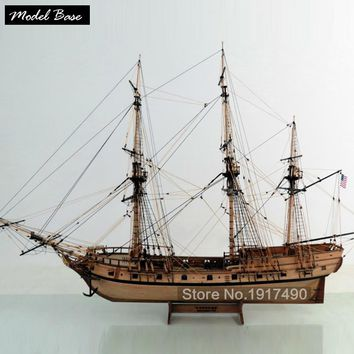 Wooden Ship Models Kits Train Hobby Model-Ship-Assembly Educational Model Boats Wood 3d Laser Cut 1/48 American ship Rattlesnake