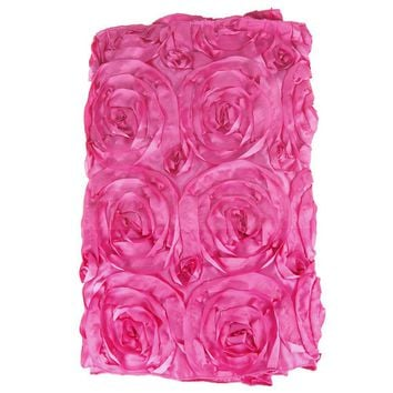 Satin Rosette Table Runner with Serged Edge, Fuchsia, 14-Inch x 108-Inch