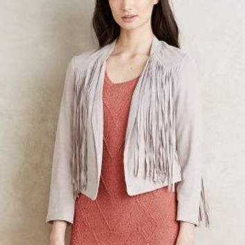 Doma Fringed Leather Jacket in Light Grey Size: