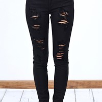 High Rise Distressed Out Skinny Jeans {Black}