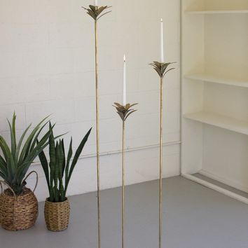 Set of 3 Antique Brass Palm Taper Candle Towers #1