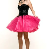 Black & Fuchsia Sequin and Puff Tulle Party Prom Dress - XS to 2XL - Unique Vintage - Prom dresses, retro dresses, retro swimsuits.