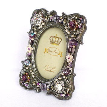 Picture Frame, Vintage Style, embellished with Earrings, Rhinestone, Jewelry Frame, Unique Frame