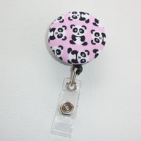 Retractable ID Badge Holder Reel  - Fabric Button - Little panda bears on pink