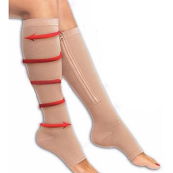 Unisex Zippered Compression Pain Relief Leg Support Knee Socks Sox Open Toe S/L