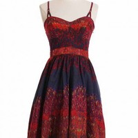 spanish nights printed dress in navy at ShopRuche.com, Vintage Inspired Clothing, Affordable Clothes, Eco friendly Fashion