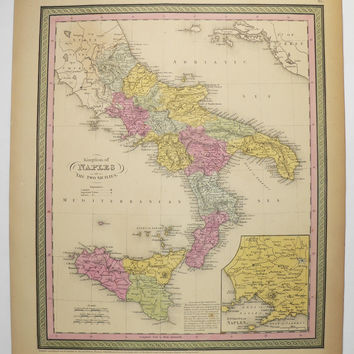 Vintage Italy Map, Island of Sicily, Naples Italy 1852 Mitchell Map of Italy, Southern Italy Vacation Map, Italy Wedding Gift for Couple