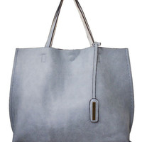 Reversible Tote Bag in Blue/Silver