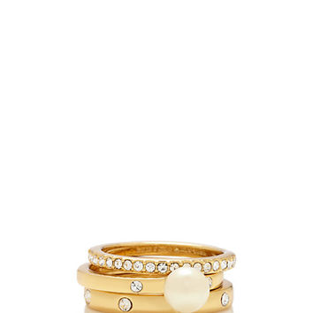 Kate Spade Pearly Delight Stackable Rings Cream Multi