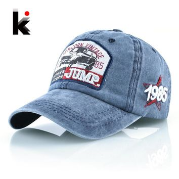 Trendy Winter Jacket Vintage Baseball Cap Men Women Washed Denim Dad Hat Capricorn 1985 Snapback Hip Hop Bone Outdoor Cotton Casquette Running Homme AT_92_12