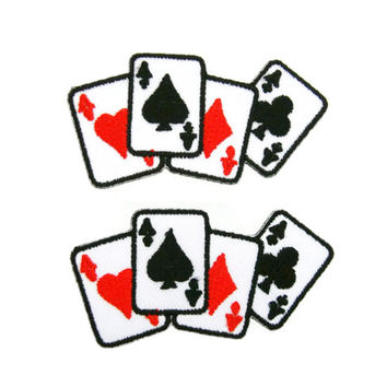 Set of 2 pcs Playing Card Four Aces Poker Embroidered Iron On Patch