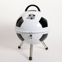 Gibson Soccer Ball BBQ Portable Charcoal Grill (White)