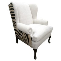 Zebra Hair-on-Hide & French Linen Chair