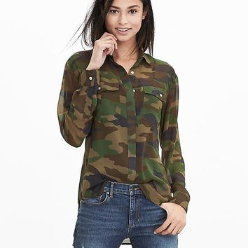 Banana Republic Womens Camo Utility Shirt
