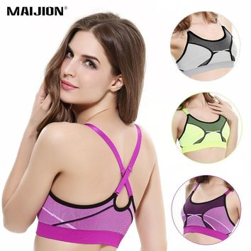 MAIJION Women Convertible Straps Padded Sport Bra Push Up Shockproof Yoga Fitness Tank Top Seamless Elastic Running Athletic Bra