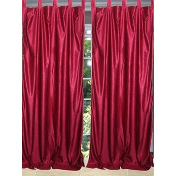 Mogul Maroon Curtains Tab Top Drape Panels Pair Window Treatment For Home Décor (84x48) - Walmart.com