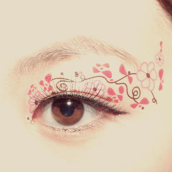 1 Pair  Fake Temporary Tattoo Transfer Stickers eye makeup eyeshadow Black Pink Flower Doodle Festival Valentines Clubbing Cosplay Party