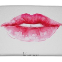 Bath Mat, Lips Painted In Watercolor Illustration