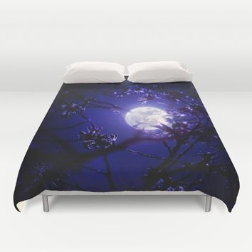 Dark Night Moonlight Duvet Cover by 2sweet4words Designs