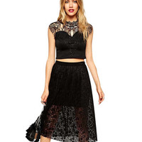 2Pcs Lace Short Sleeve Crop Top Midi A-Line Skirt Set