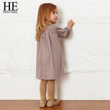 HE Hello Enjoy Toddler Baby Autumn Long Sleeve Korean Clothes Girls Dress Floral Collar Kids Cotton Dresses Children Clothing