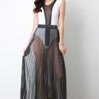 Metallic Semi Sheer Pleated Maxi Skirt