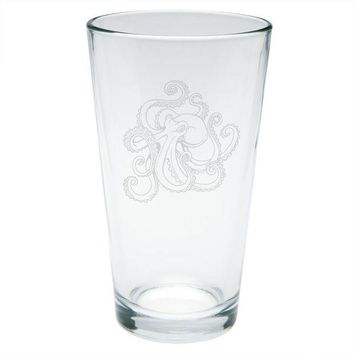 LMFCY8 Octopus Tattoo Etched Pint Glass