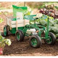 Rolling Scoot-N-Do Garden Seat and Pull Cart - Plow & Hearth