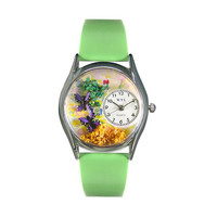 Whimsical Watches Butterflies Green Leather And Silvertone Watch
