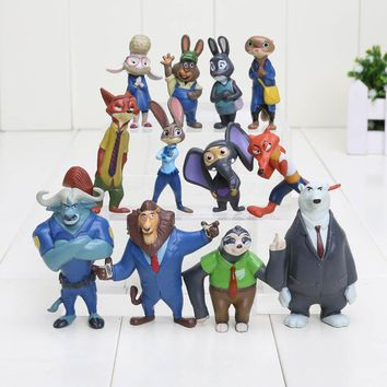 12Pcs/Set Zootopia Nick Fox Judy Rabbit Pvc Action Figures toys Models doll