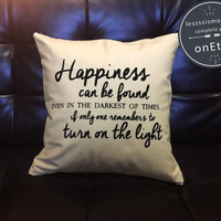 Harry Potter Pillow cover Handmade pillow, Dumbledore Quote Pillow Cover, Happiness Can Be Found cotton canvas pillow cover
