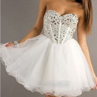 White Corset Homecoming Dress Lace Up Back Prom by WeddingBless