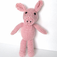 Little Stuffed Pig, Hand Knit Toy, Ready To Ship, Small Stuffed Animal Newborn Photo Prop Baby Gift Small Plush Doll Farm Animal 7 1/2""