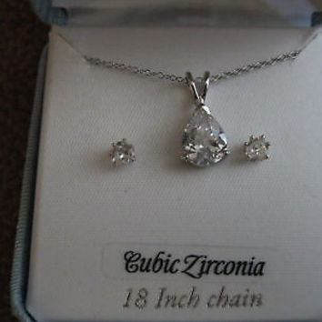 "18"" Sterling Silver Necklace&Solitaire Cubic Zirconia  Earrings Combo Set-NIB!"